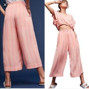 Anthropologie Maeve Nell Wide Leg Culottes Pink S